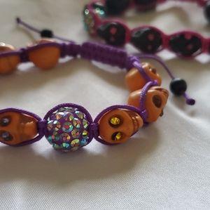 Jewelry - 2 Sugar skull bling adjustable bracelets